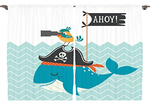 Silky Pirate Bandana (Ambesonne Boys Kids Baby Shower Playroom Decor Collection, Ahoy Whale with a Pirate Hat Bird Binoculars Zig Zag Waves Flag, Window Treatments for Kids Bedroom Curtain 2 Panels Set, 108X63 Inches)