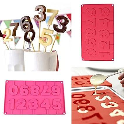 Bluelover Números Diy Paleta Molde Pastel De Chocolate Molde De Silicón Fondant