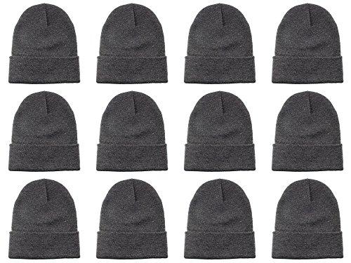 Gelante Unisex Beanie Cap Knitted Warm Solid Color Multi-Packs (12 Pack: Dark Grey)