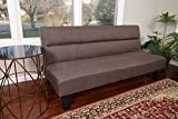 Home Life Chocolate Textured Linen Sofa Futon with Adjustable Back Klik...