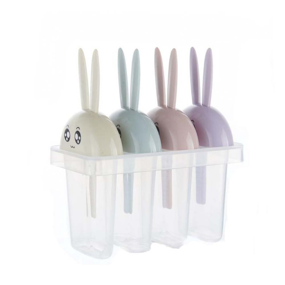 ANQI 2 Packs Animal Popsicle Mold Rabbit Ice Cream Mold Ice Cream Maker 4pcs Popsicle Box with Lid for Children