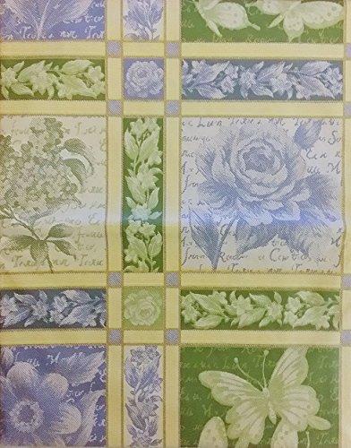 Butterflies and Floral Springtime Jacquard Vinyl Flannel Back Tablecloth (60