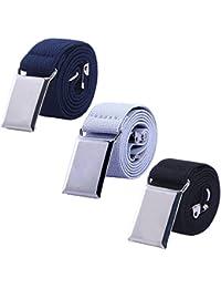 Toddler Boy Kids Buckle Belt - Adjustable Elastic Child Silver Buckle Belts for Girls, 3 Pieces (Navy blue/Gray/Black)