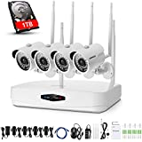 ANNKE 4CH 1080P HD NVR Wireless Security CCTV Surveillance Camera Systems with 4x2.0MP Wireless WIFI Indoor Outdoor IP Cameras and 1TB Surveillance Hard Drive,100FT Night Vision, Motion Detect