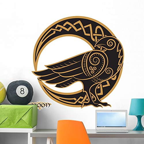 Wallmonkeys Celtic Raven Crescent Moon Wall Decal Peel and Stick Graphic (36 in H x 36 in W) WM502710 ()