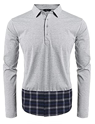 COOFANDY Men's Polo Shirts Casual Slim Fit V-Neck Long Sleeve T Shirt