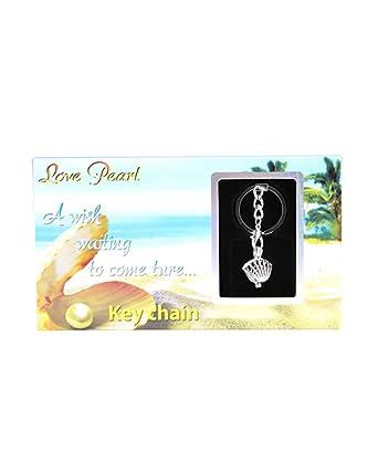 Amazon.com: Llavero con perlas auténticas en el interior de ...