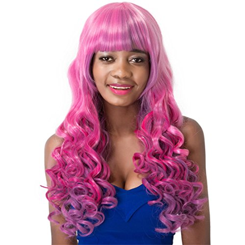 Finders Loose 27Inch Long Wavy Wigs Gradient Pink Cosplay heat resistant synthetic Wigs For Costume Festival (Costume Festival 2016)