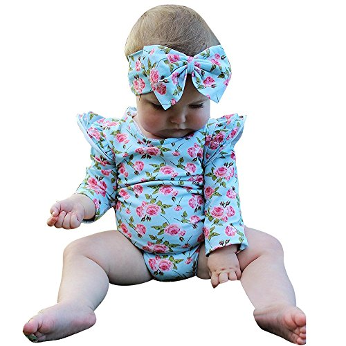 Birdfly Baby Girls Boho Vintage Floral Romper Bodysuit + Bowknot Headband Infant One-piece Cute Fun Playsuits Outfits (18M, Aqua)