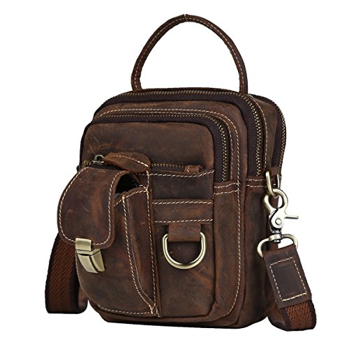 Men's Vintage Thick Cowhide Leather Travel Waist/chest Day Pack Cross Body Fanny (Bag Dark Coffee)