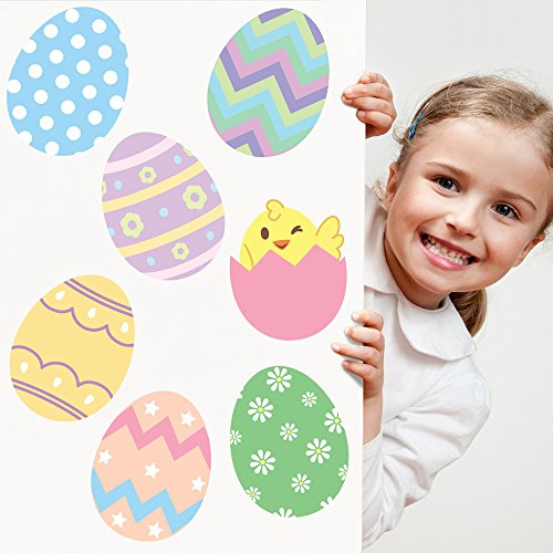Oliver's Labels Easter Eggs Wall Decals Peel and Stick Removable Reusable (Easter Decals)