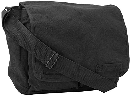 Black Original Heavyweight Classic Messenger Shoulder Bag with Army Universe Pin