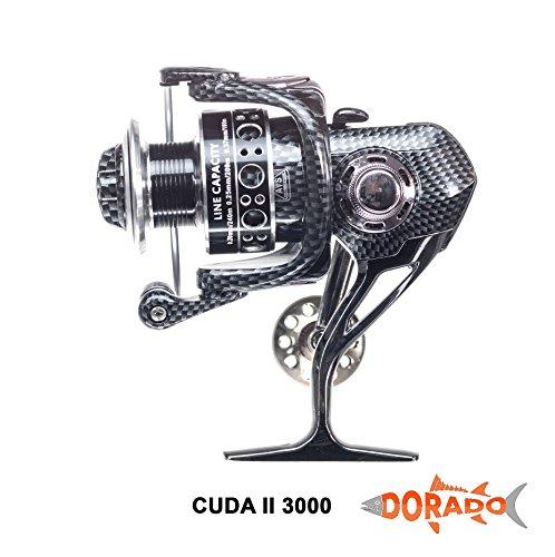 Dorado Cuda II Spinning Reel – Aluminum Alloy – 12 + 1 Ball Bearings – Smooth Casting – Ultra Light Weight – Double Bearing – Bonus 3 Shrimp Lures!!
