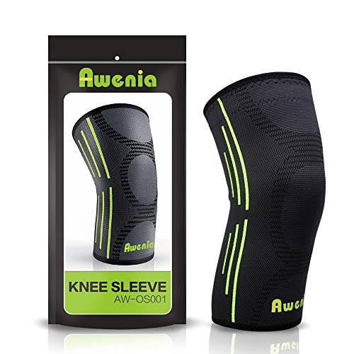 Awenia Knee Braces Support Compression Sleeves Single for Running Arthritis ACL Meniscus Tear Joint Pain Relief and Injury Recovery Basketball and More Sports (FDA Approved)