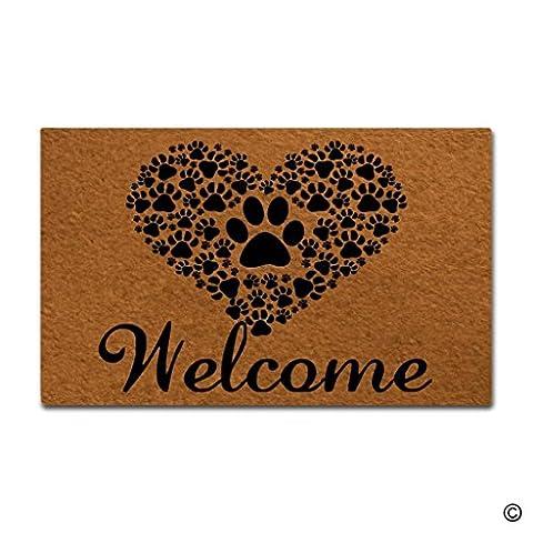 MsMr Doormat Entrance Floor Mat Funny Doormat Welcome-Paws Love Heart Door mat Decorative Indoor Outdoor Doormat Non-woven Fabric Top - Love Door Mat