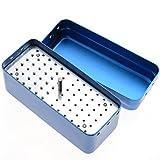Doctor's Kit Oral 72 Hole Diamond Burs Holder Block Autoclave Sterilizer Case Disinfection Box Color Blue