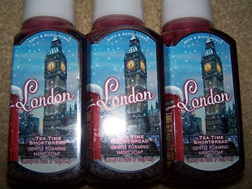 Lot of 3 Bath & Body Works Joy to the World London Tea Time Shortbread Gentle Foaming Hand Soap Scented with Shortbread, Cherries & Almond (London Tea Time Shrtbread) (Bath And Body Cotton Candy)