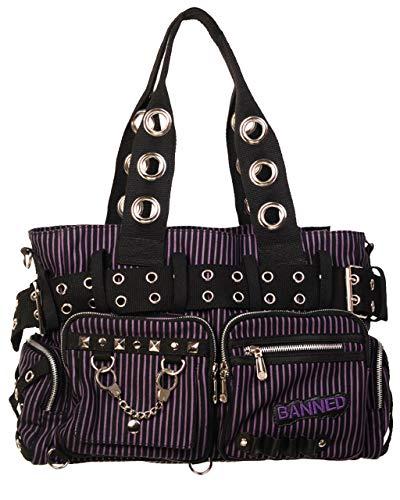 Gothic Vertical Stripes Buckled Handcuff Alternative Emo Handbag