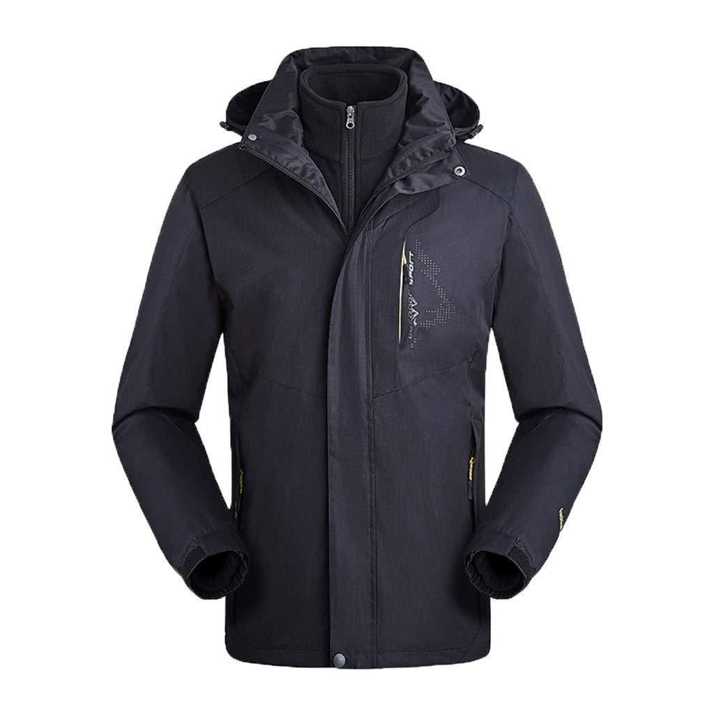 Kauneus  Women and Mens Ski Jacket 3-in-1 Waterproof Windproof Warm Winter Shell with Detachable Hood and Fleece Liner by Kauneus Women Clothing