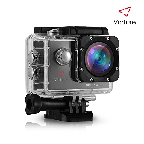 Victure WIFI Sports Action Camera 14MP Full HD 1080P Waterproof Motorcycle Helmet Cams 30M Underwater Diving Camcorder with 2 Inch LCD Screen, 170° Wide Angle Lens and 2 Pcs Rechargeable Batteries