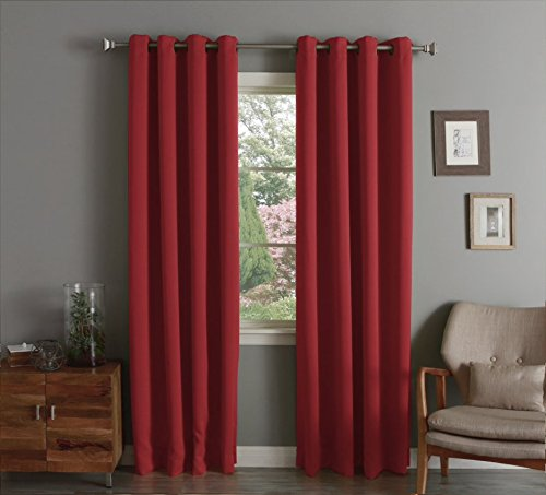 Lina Solid Woven Thermal Grommet Blackout Window Curtain Panel 55