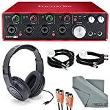 Focusrite Scarlett 18i8 USB 2.0 Audio Interface Kit with 2 x ¼'' Cable, 2 x XLR Cable, 2 MIDI to 2 MIDI (Dual) Cable, Samson Stereo Headphones, FiberTique Cleaning Cloth