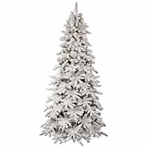 Flocked Olympia Fir 7.5' Artificial Christmas Tree with Multicolored Lights