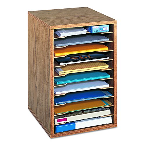 Safco Products Vertical Desktop Sorter, 11 Compartment 9419MO, Medium Oak, Letter-size Shelves, Durable Laminate Finish