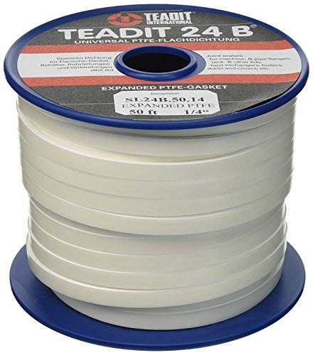 Sterling Seal and Supply (STCC)  1500.25050 1500/Teadit 24B White PTFE Joint Sealant for Applications in Steel, Glass Lined, PVC and Fiber Glass Pipe Flanges, Fume Ducts, Concrete Lids, Heat Exchangers, 1/4'' Wide, 50' by Sterling Seal & Supply, Inc. (STCC) (Image #6)