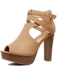 Cutout Gladiator Ankle Strap Platform Fashion High Heel Sandals
