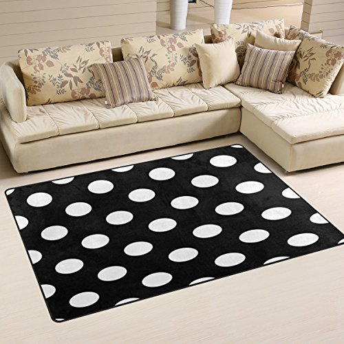 WOZO Fashion Polka Dot Black Area Rug Rugs Non-Slip Floor Mat Doormats Living Room Bedroom 31 x 20 inches ()
