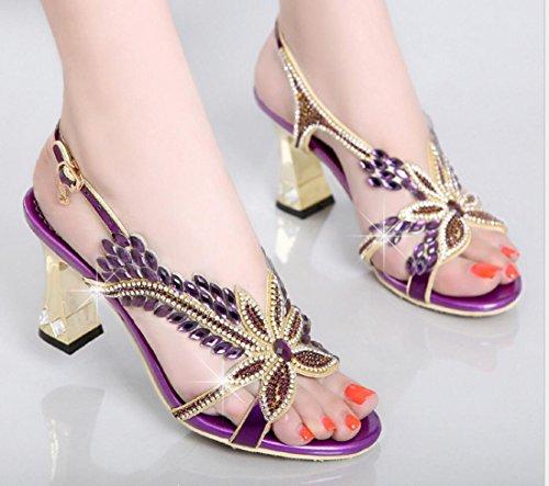 CYGG mujer gatito tacón sandalias de diamantes de imitación versión coreana cuero genuino boca de pescado moda oro tacones altos sandalias blue