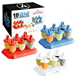 U.S. Kitchen Supply Jumbo Set of 18 Jewel Shaped Ice Pop Molds – Sets of 6 Red, 6 White & 6 Blue