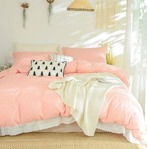 (Softta Girls Bedding Set Queen Duvet Cover Striped 3 Pcs Farmhouse Vintage Pink 100% Washed Cotton Ruffle Tassel Princess Girls Bedding with Zipper Ties 1 Duvet Cover + 2 Pillow Shams)