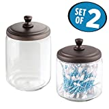 mDesign Clear Glass Apothecary Jar Collection for Bathroom Vanities - Set of 2, Bronze