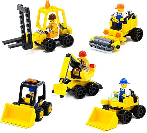 Little Treasures Construction Tractors Vehicle Building Bricks Toys Set for Kids 219-Pieces (5 PACK)