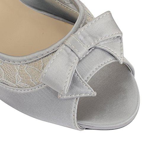 Footwear Sensation - Merceditas de rejilla con cordones mujer Negro - plata