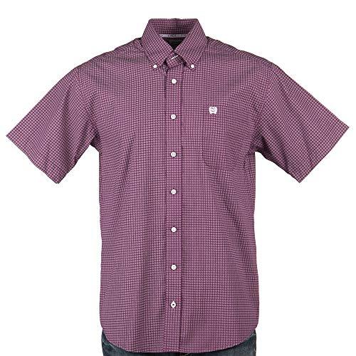(Cinch Men's Classic Fit Short Sleeve Button One Open Pocket Print Shirt, JR Purple S)