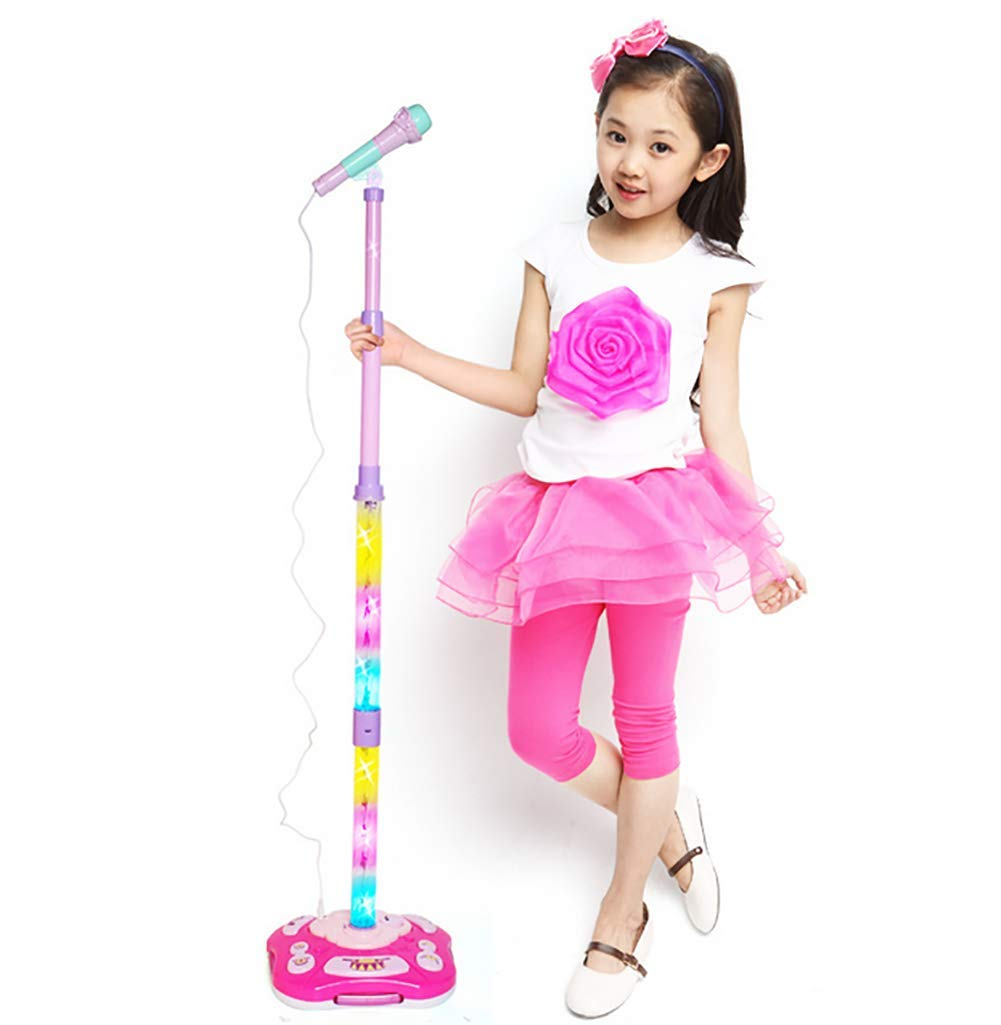 GHDE& Kids Karaoke Machine Microphone Toy with Adjustable Stand & Flashing Lights/USB Charging/Best Gift for Your Kids on Birthday (Pink)