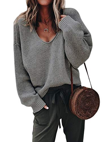 (ZHENWEI Womens Knit Pullover Long Sleeve Sweatshirt Casual Wool Knit Sweater Dark Grey)