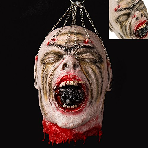 Prop Latex (Cherry Juilt Severed Head Halloween Decorations Cut off Corpse Head Hanging Props Bloody Gory Latex Zombie Zombie)