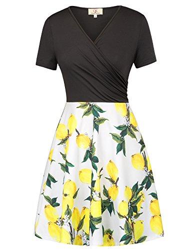 (Patchwork A-Line Floral Pattern Dresses for Women Size L)