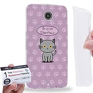 Case88 [Motorola Nexus 6] Gel TPU Carcasa/Funda & Tarjeta de garantía - Art Hand Drawing British Shorthair Cartoon Kitten