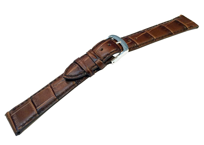 Strappedの時間20 mm MediumブラウンクラシックAlligator Grain Watch Band with Matching Stitch  B01LXZIYCP