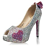 Marc Defang New York Handmade Crystals Bridal Pumps With hearts, Red Soles and I Do (10.5M US)