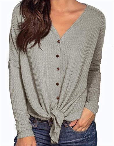 Thermal Knit Top - PCEAIIH Womens Long Sleeve Waffle Knit Tunic Blouse Tie Knot Henley Tops Loose Fitting Bat Wing Plain V Neck Shirts M Gray
