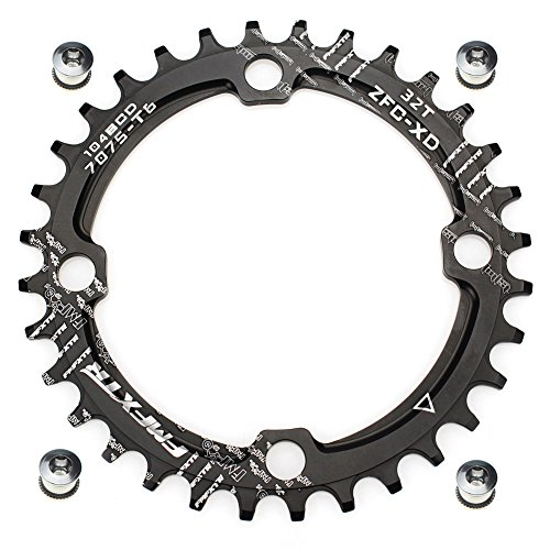 30T 32T 34T 36T 38T Chainring 104 BCD FOMTOR Narrow Wide Chainring with Four Chainring Bolts for Road Bike, Mountain Bike, BMX MTB Bike (Black)