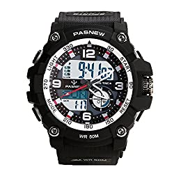 Teenagers Sport Watch | Multifunctional Wrist Clock | Analog Quartz & Digital Display | Dual Time Zone | Water Resistant | EL Backlight | Stopwatch | 3 Alarms | Chime | PU Strap for Boys Girls BLACK