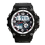 Teenagers Sport Watch | Analog Quartz & Digital Display | Dual Time Zone | Water Resistant | EL Backlight | Stopwatch | 3 Alarms | Chime | PU Strap for Boys Girls