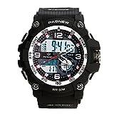 Teenagers Sport Watch | Multifunctional Wrist Clock | Analog Quartz & Digital Display | Dual Time Zone | Water Resistant | EL Backlight | Stopwatch | 3 Alarms | Chime | PU Strap for Boys Girls